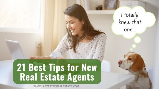 new agent looking at real estate tips with her dog | 21 Best New Agent Tips for Real Estate Success